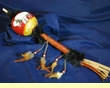 """Hand Painted Gourd Rattle 16"""" -Buffalo  (70)"""