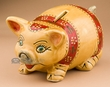 Hand Painted Mexican Talavera Pottery Piggy Bank (t12)