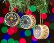 Hand Painted Mini Drum Ornament 3 Set -Acoma  (o69)