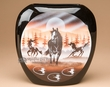 "Hand Painted Navajo Pillow Vase 8.25x8.25"" -Horses  (nap354)"