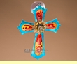 Hand Painted Southwest Designer Sun Catcher -Cross