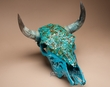 "Hand Painted Steer Skull 16x18.5"" -Turquoise Overlaid  (s84)"