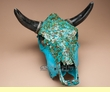 "Hand Painted Steer Skull 14.5x17.5"" -Turquoise Overlaid  (s84)"