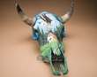 Hand Painted Steer Skull 16x21 -Eagle  (PS16)