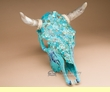 "Hand Painted Steer Skull 15x18"" -Turquoise Overlaid  (s84)"