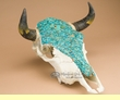 "Hand Painted Steer Skull 14x16"" -Turquoise Overlaid  (s84)"