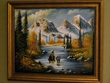"""Hand Painted Western Cowboy Art 19""""x23"""" -Mountains   (19)"""