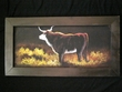 "Hand Painted Western Cowboy Framed Art 12""x23"" -Bull   (20)"