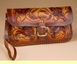 "Hand Stitched Tooled Wallet Handbag 9""x5""  (p456)"