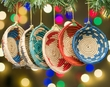 Hand Woven Mini Basket Christmas Ornament Set  (o47)