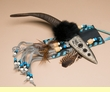 "Handcrafted Ram's Horn Knife & Beaded Sheath 12"" (k42)"