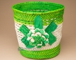 "Handwoven Planter Basket 9"" -Green Flower  (EM9)"