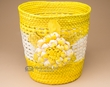 "Handwoven Planter Basket 9.5"" -Yellow Flower  (em19)"
