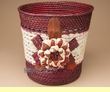 "Handmade Palm Planter Basket 9.5"" -Brown Flower  (em10)"