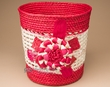 "Handmade Planter Basket 9.5"" -Red Flower  (em11)"