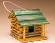 "Hanging Rustic Log Cabin Bird House 9x7""  (bhp)"