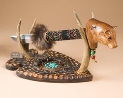 Creek Indian Carved Knife & Antler Stand -Bear  (ks13)
