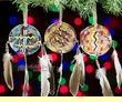 """Indian Painted Shield Christmas Ornament 3"""" -3 Set  (o6)"""