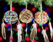 "Indian Painted Shield Christmas Ornament 3"" -3 Set  (o6)"