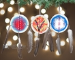"Indian Painted Shield Christmas Ornament 4"" -3 Set  (o6)"