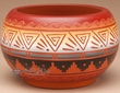 Indian Pottery Etched Clay Bowl 3.5 -Navajo  (p326)