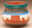 "Indian Pottery Etched Clay Vase 2.75""-Navajo  (p237)"