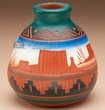Indian Pottery Etched Clay Vase 3.5 -Navajo  (p238)