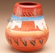 "Indian Pottery Etched Clay Vase 4"" -Navajo  (p235)"