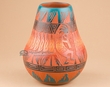 "Indian Pottery Etched Clay Vase 5x6"" -Navajo  (p333)"