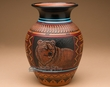 "Navajo Indian Pottery Etched Clay Vase 8.25"" -Bear  (p341)"