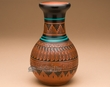 "Indian Pottery Etched Clay Feather Vase 7"" -Navajo  (p321)"