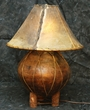 "Indian Pottery Lamp -22"" dark / dark rawhide lace"