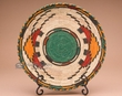 "Indian Style Hand Coiled Basket & Stand 12""  (em1)"