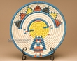 "Indian Style Hand Coiled Basket & Stand 12"" -Kachina  (b56)"