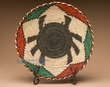 "Indian Style Hand Coiled Basket & Stand 12"" -Spider  (em6)"