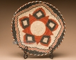 "Indian Style Hand Coiled Basket & Stand 12""  -(EM16)"