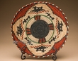 "Indian Style Hand Coiled Basket & Stand 12"" -Wolf  (EM16)"
