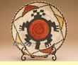 """Indian Style Hand Coiled Basket & Stand 12"""" -Turtle  (kb5)"""