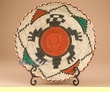 "Indian Style Hand Coiled Basket & Stand 12"" -Turtle  (kb5)"