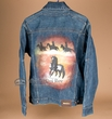 Lg. Western Jean Jacket With Hand Painting -Horses