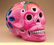 "Mexican Day Of The Dead Skull 6.5"" -Pink  (s7)"