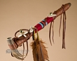 "Native American Antler Peace Pipe 17"" -Tigua"