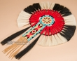 "Native American Beaded Horse Hair Dance Bustle 16""x23"" -Navajo  (b2)"