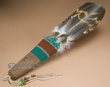 """Native American Beaded Indian Smudging Fan 18""""  (f24)"""