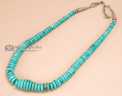 "Native American Beaded Necklace 18"" -Turquoise  (116)"