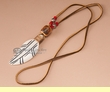 Native American Bone Feather Necklace -Red  (72)