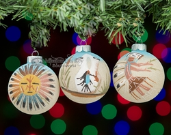 Native American Christmas Ornaments Set -Sand Paintings  (co11)