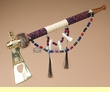 "Native American Creek Indian Beaded Tomahawk Pipe 18""  (p75)"