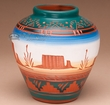 "Native American Etched Pottery Vase 5.5"" -Navajo  (p214)"