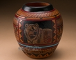 "Native American Etched Pottery Vase 8"" -Navajo  (p256)"